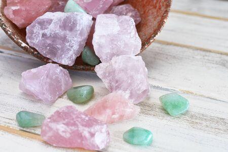 Rose Quartz and Green Aventurine Crystals