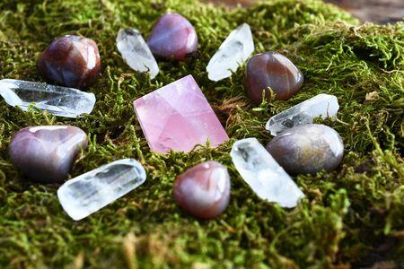 Crystal Energy Healing Grid on Moss