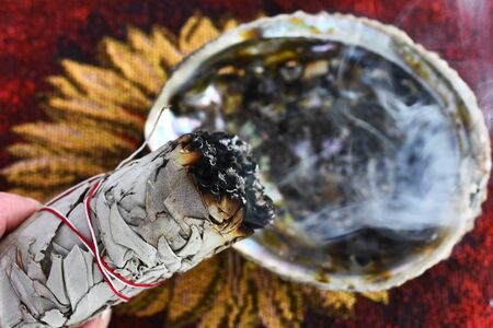 Burning White Sage Smudge Stick Close Up