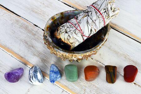Chakra Crystals and White Sage Bundle Stock Photo