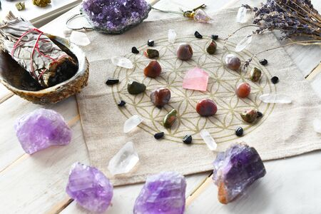 Self Love Crystal Grid and White Sage
