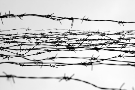 depressive: Fencing. Fence with barbed wire. Depressive background. Black and white. Photo Stock Photo