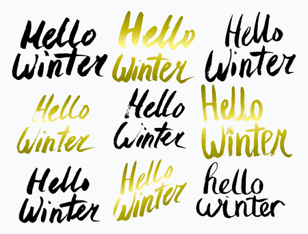 Hello Winter text. Vector. Lettering. Drawing by hand. Caption brush Letters