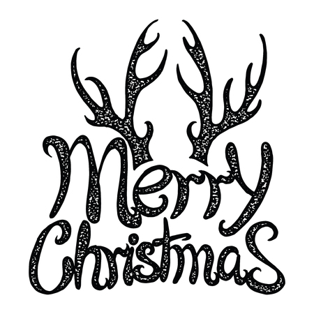 Vector inscription Merry Christmas. Cover title. Drawing by hand. Lettering. The words. Letters Doodle
