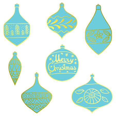 Christmas tree toys with patterns. Set. Art. Decorations for Christmas trees.