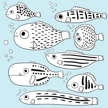 Stylized fishes. Cartoon fish. Collection. Childrens drawings. Line art. Abstract sea fish