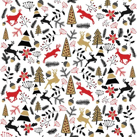 Vector background. Christmas illustration. Merry Christmas. Holiday card. New Years Eve 2017. Deer