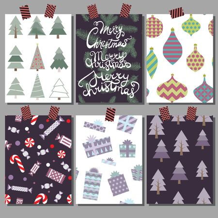 Vector collection of Christmas poster templates. Christmas set of christmas greeting cards. Bright colors. presents and hand written lettering for your invitation and design.