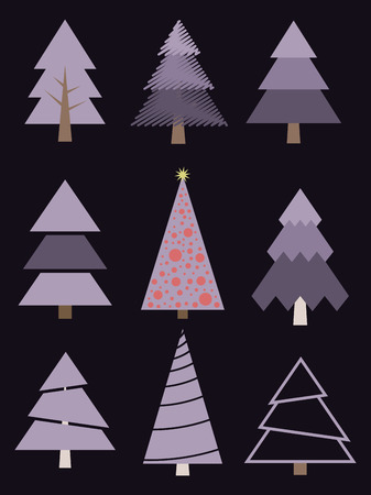 Set of stylized Christmas trees. Vector collection of firs.
