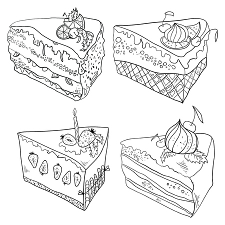 Collection of cupcakes. Food. Dessert Linear art Set