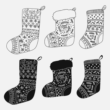 Vector collection of Christmas stockings. Stylized winter black and white socks. Set of decorative Christmas stockings with ornaments. Merry Christmas.