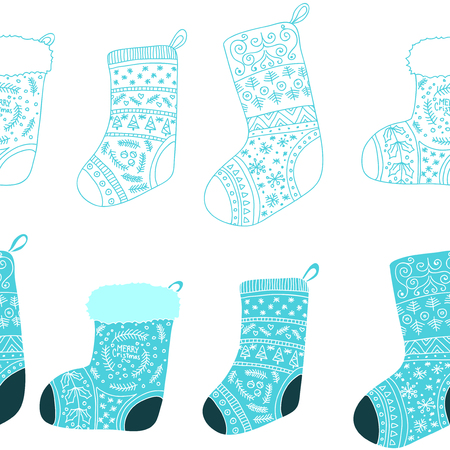 Christmas blue stockings. Stylized winter socks. Set of decorative Christmas stockings with ornaments. Merry Christmas. Vector seamless pattern.