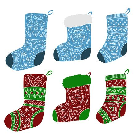 Vector collection of colored Christmas stockings. Stylized winter socks. Set of decorative Christmas stockings with ornaments. Merry Christmas. Ilustração