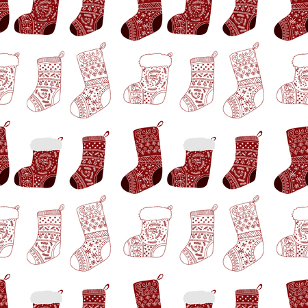 Christmas red socks. Stylized stockings. Set of decorative Christmas stockings with ornaments. Merry Christmas. Vector seamless pattern.