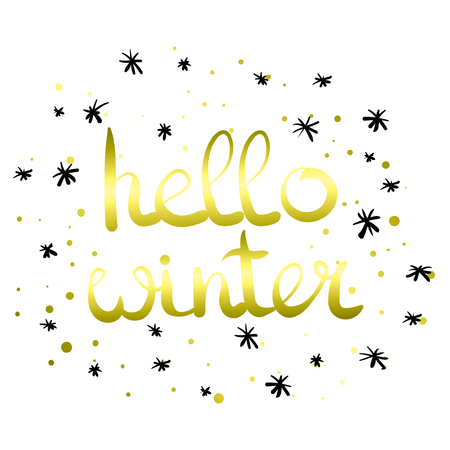 Vector hand written phrase about winter. Lettering on white isolated background. Black ink quote for your overlay and card design. Hello winter. Ilustração