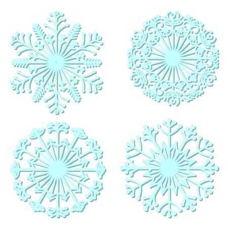 Set of vector snowflakes. Collection of ornamental mandalas. Stylized snowflakes. Winter. Line art. Ilustração