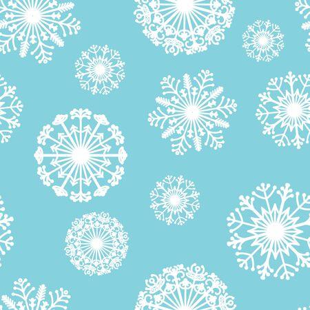 Seamless vector pattern of decorative snowflakes. Stylized Mandala. Winter print. Ilustração