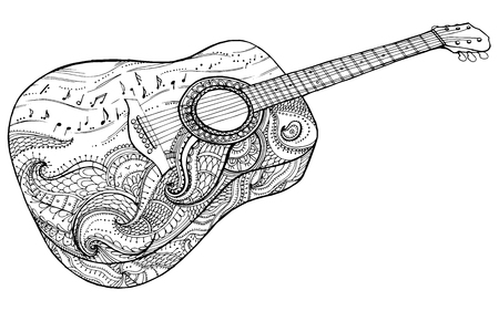 classical arts: Stylized classical guitar. Retro guitar. Musical instrument. Music. Rock. Line art. Drawing by hand. Graphic arts Tattoo Doodle