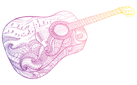 Stylized classical guitar. Retro guitar. Musical instrument. Music. Rock. Line art. Drawing by hand. Graphic arts Tattoo Doodle