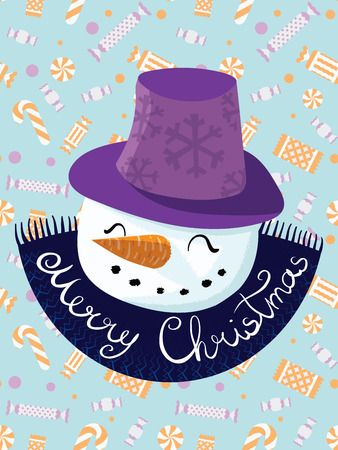 Vector Christmas illustration. The poster with a cartoon happy snowman wearing a hat. The inscription Happy New Year. Letterning. Portrait of snowmen. Doodle. Drawing by hand. Ilustração