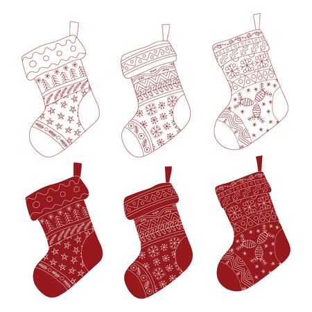 Vector Collection of Christmas red stockings. Stylized winter socks. Set of decorative Christmas stockings with ornaments. Merry Christmas. Ilustração