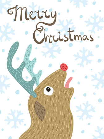 Vector Christmas card. Cartoon reindeer Rudolph. Snowfall. Deer in the snow. Illustration. Drawing by hand. Doodle.