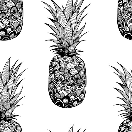 Vector seamless texture with pineapple. Textile. Doodle. Black and white drawing by hand. Graphic arts. Pattern with pineapple.
