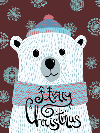 Vector Christmas illustration with a portrait of a polar bear. Cartoon white bear with lettering Merry Christmas. New Year card. Bear in a cap and a scarf. The stylized animal.