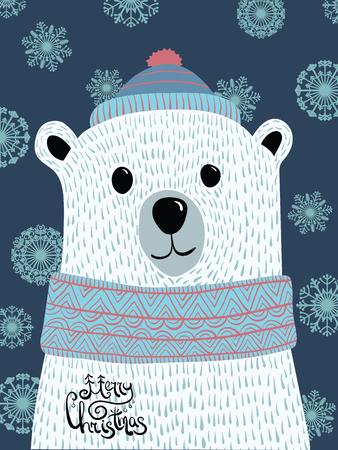 Vectorkerstmisillustratie met een portret van een ijsbeer. Cartoon witte beer met belettering Merry Christmas. Nieuwjaarskaart. Draag een pet en een sjaal. Het gestileerde dier.