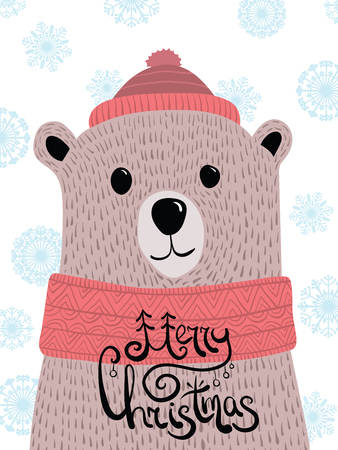 Vector Christmas illustration with a portrait of a brown bear. Cartoon Grizzly with lettering Merry Christmas. New Year card. Bear in a cap and a scarf. The stylized animal. Ilustração