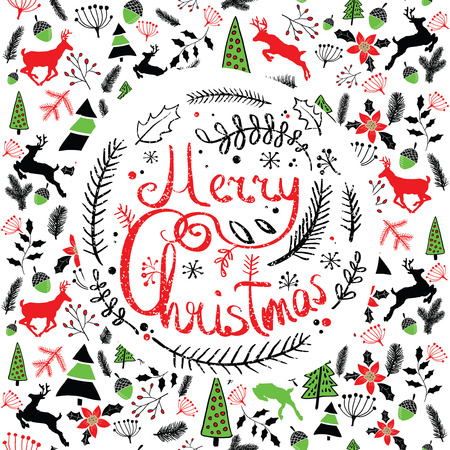 Vector illustration of a Christmas wreath. Stylized round wreath of spruce branches. Lettering. Caption Merry Christmas. Doodle. Background with Typography, Greeting card. Pattern with deer.