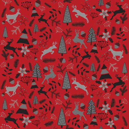 Vector seamless Christmas pattern. Stylized pattern with Christmas elements with deer. Doodle. Drawing by hand.