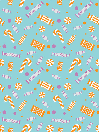 Vector seamless illustration of sweets. Confectionery texture. Christmas stylized sweets. Background. Ilustração