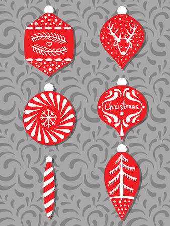 Collection of stylized Christmas tree decorations. Set. Red Christmas toys. Drawing by hand. Doodle. New Year. Vector.
