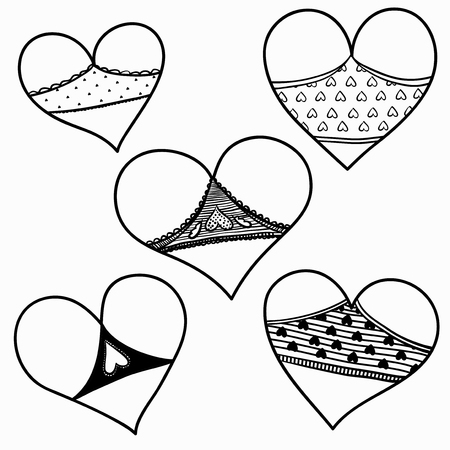 Vector set of hearts like cute asses in shorts. Valentine Day.