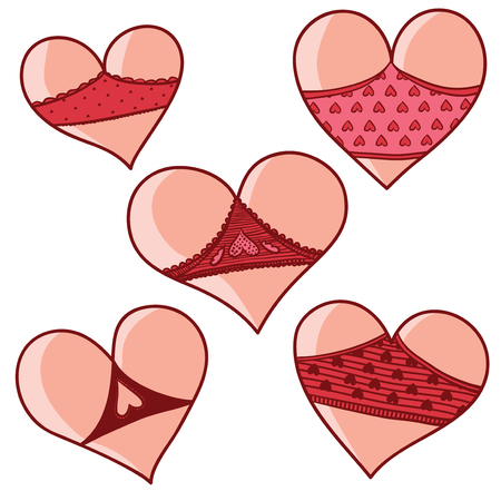 Vector set of hearts like cute asses in shorts. Valentine Day. Imagens - 69257503
