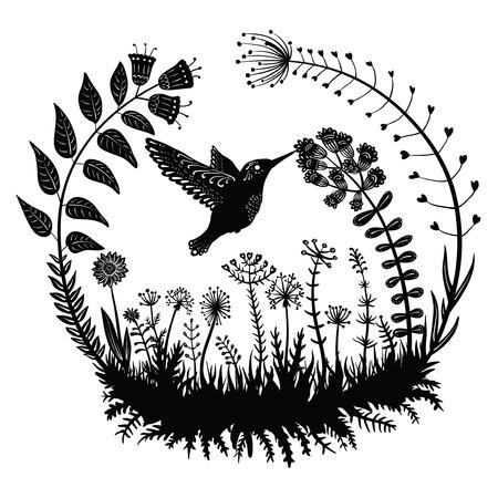 ベクトルの図。様式化されたハチドリが花から蜜を飲みます。フィールドの草の中を飛んでいるエキゾチックな鳥。Dekrativnye 植物円。ライン アート  イラスト・ベクター素材