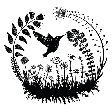 Vector illustration. Stylized hummingbird drinking nectar from the flower. Exotic bird flying in the field grass. Dekrativnye plants in a circle. Line art. Black and white drawing. Tattoo.