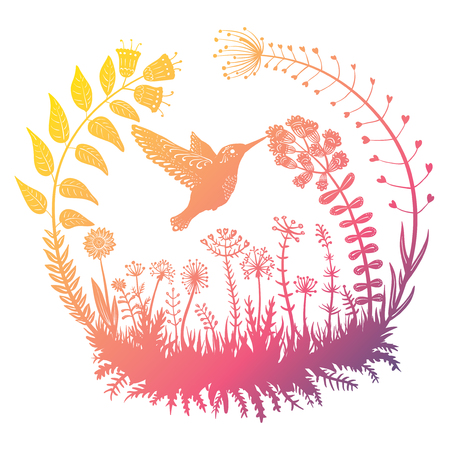 Vector illustration. Stylized hummingbird drinking nectar from the flower. Exotic bird flying in the field grass. Ornamental plants in a circle. Line art. Drawing.