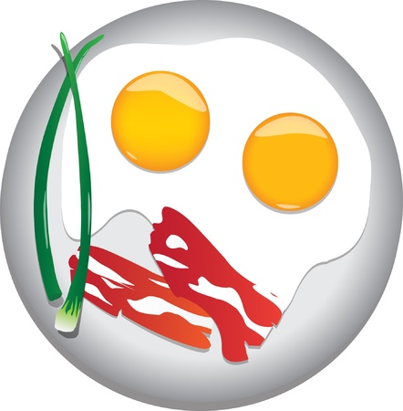 bacon and eggs: fried eggs with bacon and onions