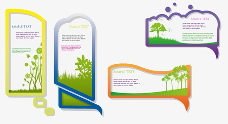 Colorful stickers for speech  Green grass  Natural background Vector
