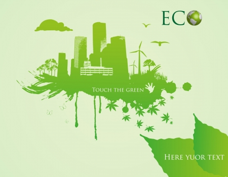 eco building: green eco town - abstract ecology town illustration Illustration
