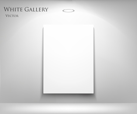 exposition: Gallery Interior with empty frames on wall