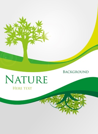Ecology green tree with text Illustration