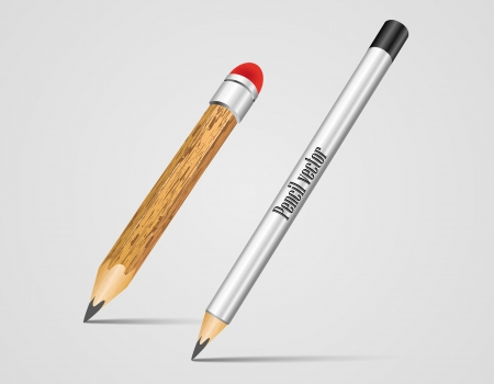 eraser mark: Realistic Silver and wood Vector Pencil