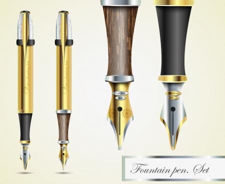 realistic vector fountain pen icons Stock Vector - 14127245