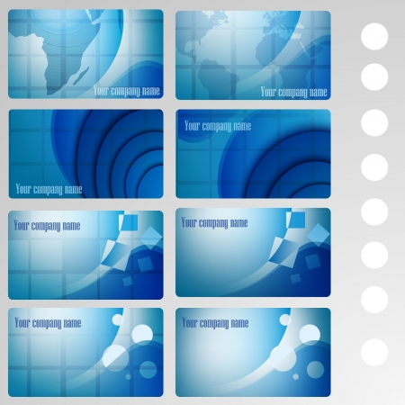 set of buisness card blue Vector