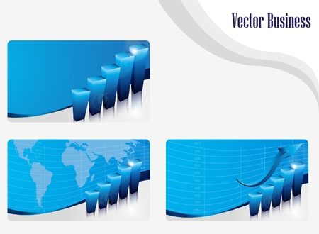 company growth: set of business cards with diagram