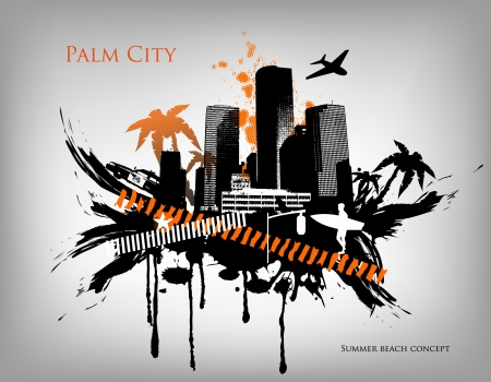 Summer Palm City Vector Illustration Stock Vector - 14127057
