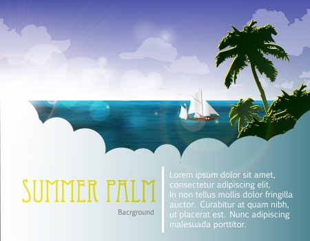 summer holiday web and print template - tropical island Vector
